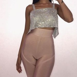 Bandage Panelled Pants in Nude Pink
